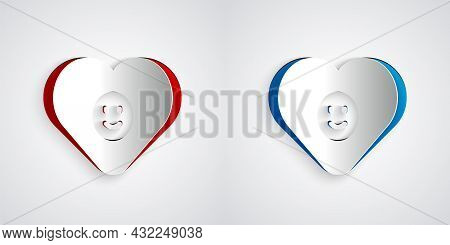 Paper Cut Good Relationship Icon Isolated On Grey Background. Romantic Relationship Or Pleasant Meet