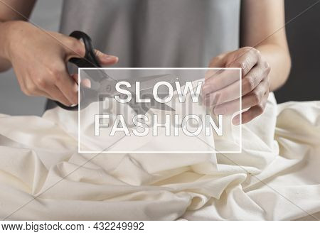 Slow Fashion Concept. Dresmaker Sewing, Making Garment.