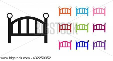 Black Baby Crib Cradle Bed Icon Isolated On White Background. Set Icons Colorful. Vector