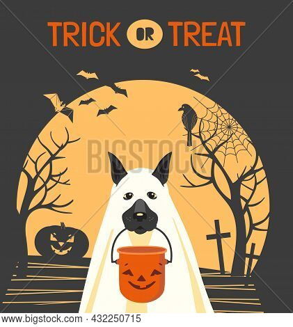 Dog In Ghost Costume And Halloween Bucket Vector Illustration. Cute Spooky Ghost Dog, Candy Bucket C