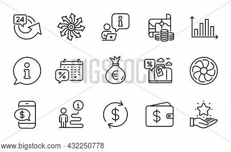 Finance Icons Set. Included Icon As Money Bag, Fan Engine, Diagram Graph Signs. Versatile, Travel Lo