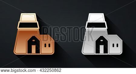 Gold And Silver Power Station Plant And Factory Icon Isolated On Black Background. Energy Industrial