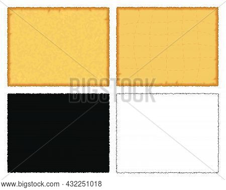 Ancient Paper. Old Antique Parchment Texture. Blank Page Of Retro Manuscript. Yellow, Silhouette And