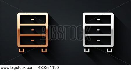 Gold And Silver Archive Papers Drawer Icon Isolated On Black Background. Drawer With Documents. File