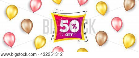 Sale 50 Percent Off Banner. Promotion Ad Banner With 3d Balloons. Discount Sticker Shape. Coupon Bub