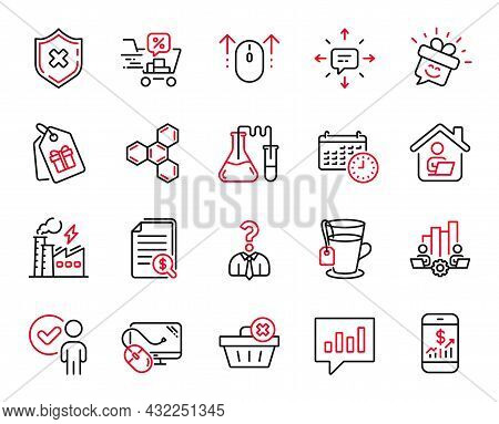 Vector Set Of Business Icons Related To Delete Order, Financial Documents And Analytical Chat Icons.