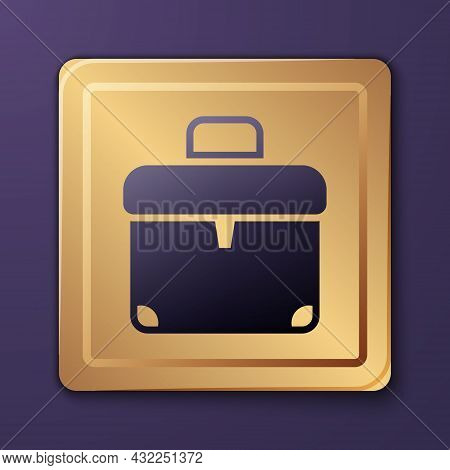 Purple Briefcase Icon Isolated On Purple Background. Business Case Sign. Business Portfolio. Gold Sq