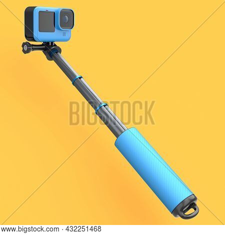 Photo And Video Lightweight Blue Action Camera With Selfie Stick On Orange Background. 3d Rendering