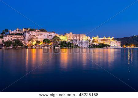 City Palace At Night, Udaipur, Rajasthan, India.