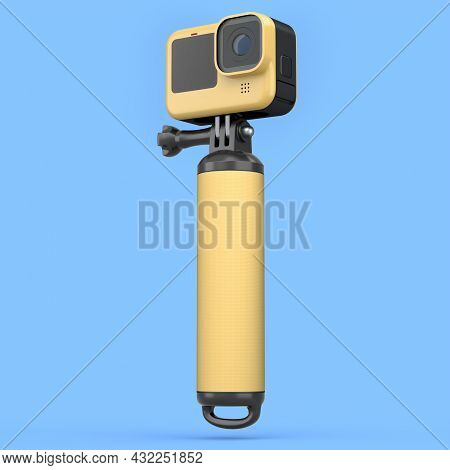 Photo And Video Lightweight Yellow Action Camera With Monopod On Blue Background. 3d Rendering Of Pr
