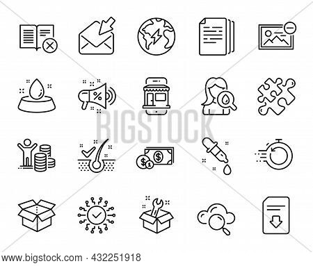 Vector Set Of Open Box, Electricity And Fast Recovery Line Icons Set. Cloud Computing, Spanner And B