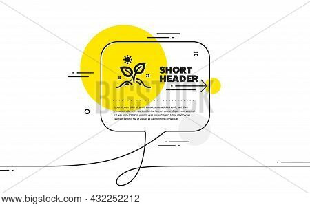 Leaves Icon. Continuous Line Chat Bubble Banner. Grow Plant Leaf Sign. Environmental Care Symbol. Gr