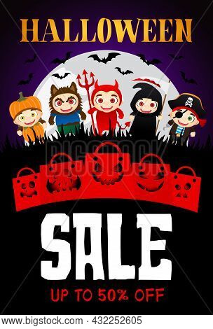 Halloween Sale Poster With Scary Funny Packages. Funny Kids In Halloween Costumes. Halloween Sale Ba