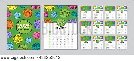 Desk Calendar 2024 Template Set, Calendar Design Vector Illustration, Set, Wall Calendar 2024 Design