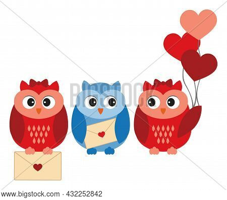 Cute Sweet Owls Holding Heart Shape Air Balloons And Love Letter. Vector Owl. Owls In Love Vector Il