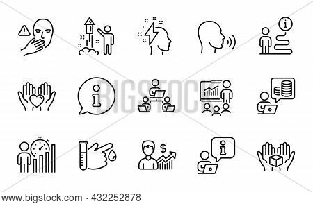 People Icons Set. Included Icon As Hold Heart, Business Growth, Teamwork Signs. Presentation, Blood