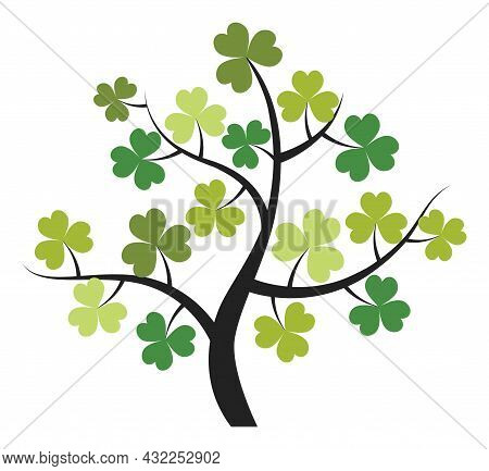 Isolated Green Shamrock Tree. Vector St. Patrick Shamrock. Shamrock Tree Vector Illustration