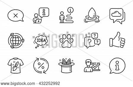 Business Icons Set. Included Icon As Hat-trick, T-shirt Design, Eco Energy Signs. Question Bubbles,