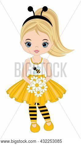 Vector Cute Teen Girl Wearing Yellow Dress, Striped Stockings And Bee Antenna Headband. Blond Girl H