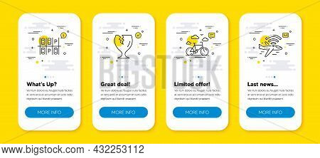 Vector Set Of Fragile Package, Bike Rental And Parking Place Line Icons Set. Ui Phone App Screens Wi