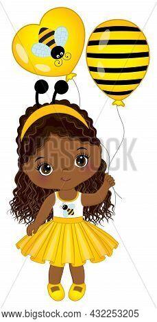 Vector Cute Little African American Girl Wearing Yellow Striped Dress And Bee Antenna Headband. Beau