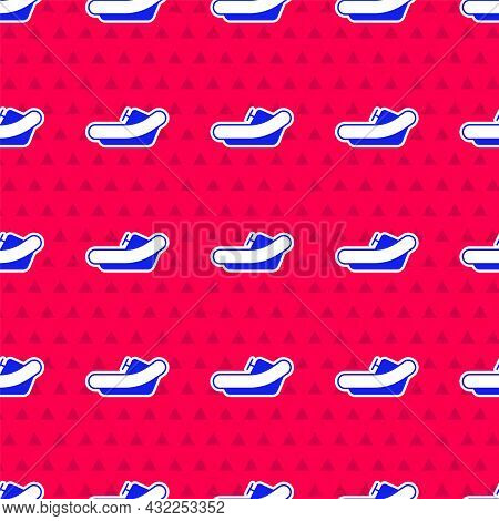 Blue Rafting Boat Icon Isolated Seamless Pattern On Red Background. Inflatable Boat With Paddles. Wa