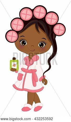 Vector Cute African American Girl Wearing Spa Robe. Little Girl Curling The Hair And Holding A Bottl