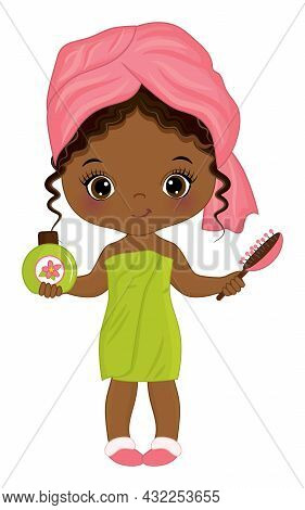 Little Girl After Shower, Wrapped In Towel. African American Girl Holding A Bottle Of Shampoo And Ha