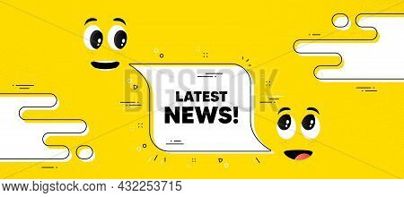 Latest News Text. Cartoon Face Chat Bubble Background. Media Newspaper Sign. Daily Information Symbo