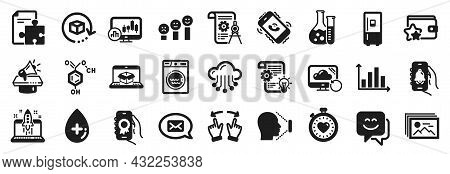 Set Of Technology Icons, Such As Cogwheel, Recovery Cloud, Divider Document Icons. Online Delivery,