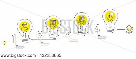 Trade Infographic Timeline With 4 Steps. Lightbulb Journey Path Infographics. Shopping Process Diagr