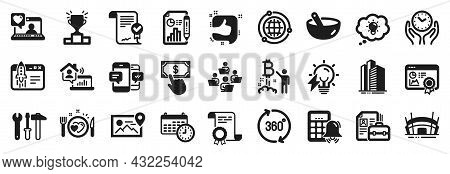 Set Of Business Icons, Such As Safe Time, Teamwork, Spanner Tool Icons. Skyscraper Buildings, Photo