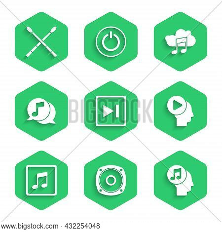 Set Fast Forward, Stereo Speaker, Musical Note In Human Head, Head People With Play Button, Note, To