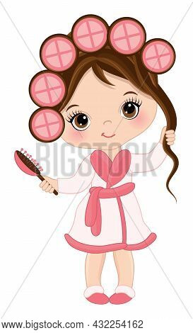 Vector Little Brunette Girl Wearing Spa Robe And Slippers. Cute Girl With Rollers And Hair Brush Doi