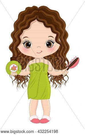 Vector Little Girl Wrapped In Towel, Holding Hair Brush And Shampoo. Cute Girl Is Brunette With Long