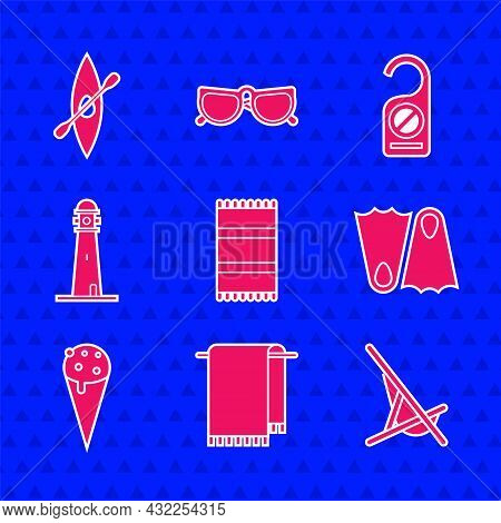 Set Beach Towel, Towel On Hanger, Sunbed, Rubber Flippers, Ice Cream In Waffle Cone, Lighthouse, Ple