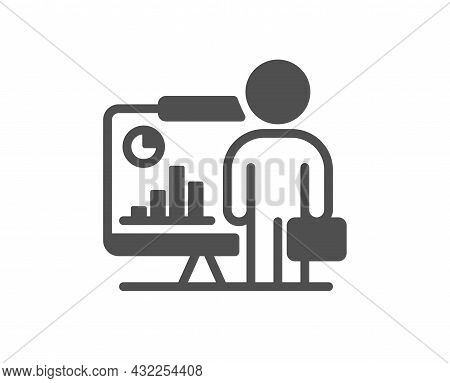 Teacher Icon. Conference Presenter Sign. Education Seminar Symbol. Classic Flat Style. Quality Desig