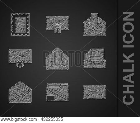 Set Outgoing Mail, Document Folder, Envelope, Drawer With Document, Delete Envelope, And Postal Stam