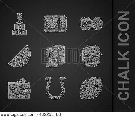 Set Deck Of Playing Cards, Horseshoe, Casino Slot Machine With Lemon, Poker Player, Wallet Money, Wa