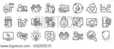 Set Of Technology Icons, Such As Online Shopping, Friends Chat, Recycle Icons. Creative Idea, Certif
