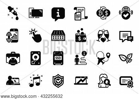 Vector Set Of Business Icons Related To Online Education, Certificate And Confirmed Icons. Documents