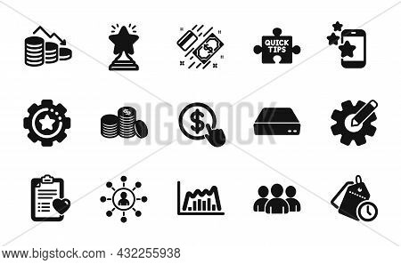 Vector Set Of Group, Best App And Banking Money Icons Simple Set. Payment, Cogwheel And Patient Hist