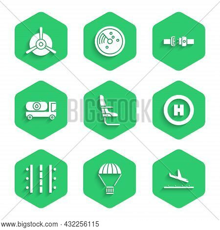 Set Airplane Seat, Box Flying On Parachute, Plane Landing, Helicopter Pad, Airport Runway, Fuel Tank