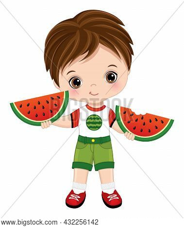 Brunette Little Boy With Hazel Eyes Holding Slices Of Watermelon. Cute Little Boy With Watermelon Ve