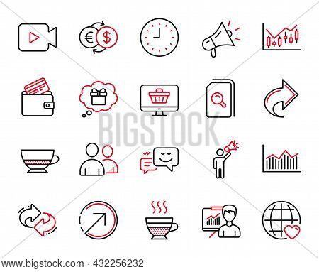 Vector Set Of Line Icons Related To Web Shop, Money Diagram And Share Icons. Presentation, Direction