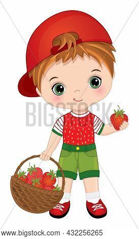 Cute Little Boy Carrying A Basket Of Strawberries. Vector Strawberry. Cute Boy Is Redheaded. Little