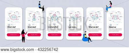 Vector Set Of Line Icons Related To Discounts Bubble, Manager And Employees Teamwork Icons. Ui Phone