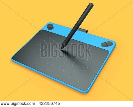 Top View Of Graphic Tablet And Pen For Illustrators, Designers And Photographers Isolated On Orange