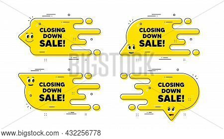 Closing Down Sale. Cartoon Face Transition Chat Bubble. Special Offer Price Sign. Advertising Discou