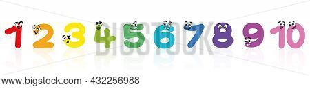 Comic Digits. Colorful Happy Numbers With Funny Faces From One To Ten. Isolated Vector Illustration